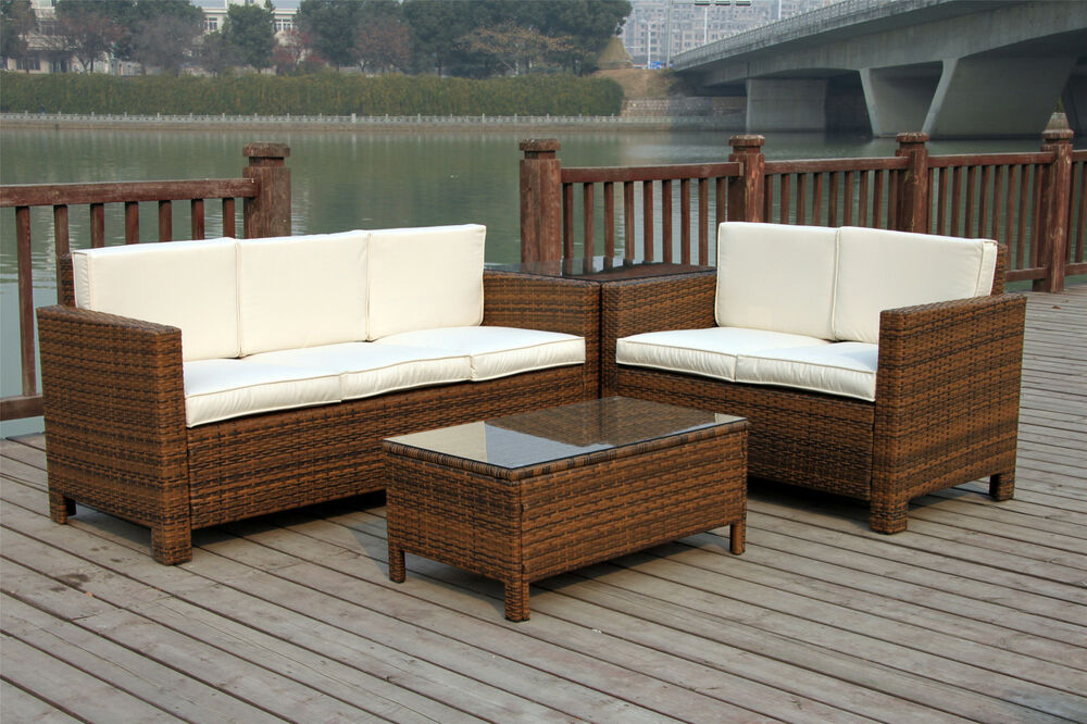 RATTAN GARDEN OUTDOOR WICKER PATIO FURNITURE CONSERVATORY SOFA SET TABLE CHAI