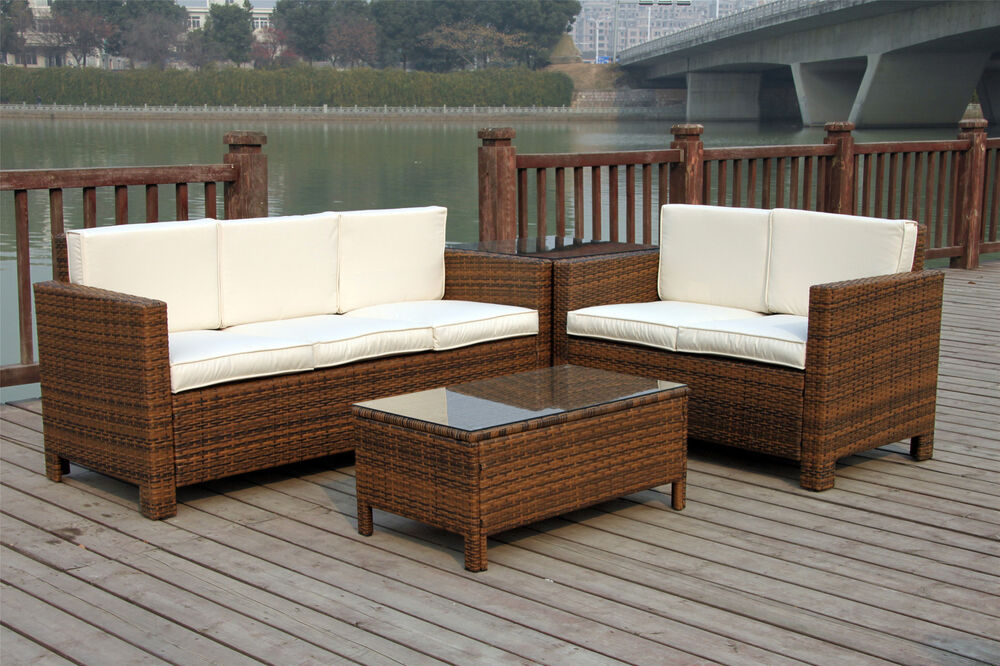 Rattan Garden Outdoor Wicker Patio Furniture Conservatory Sofa Set Table Chair Ebay