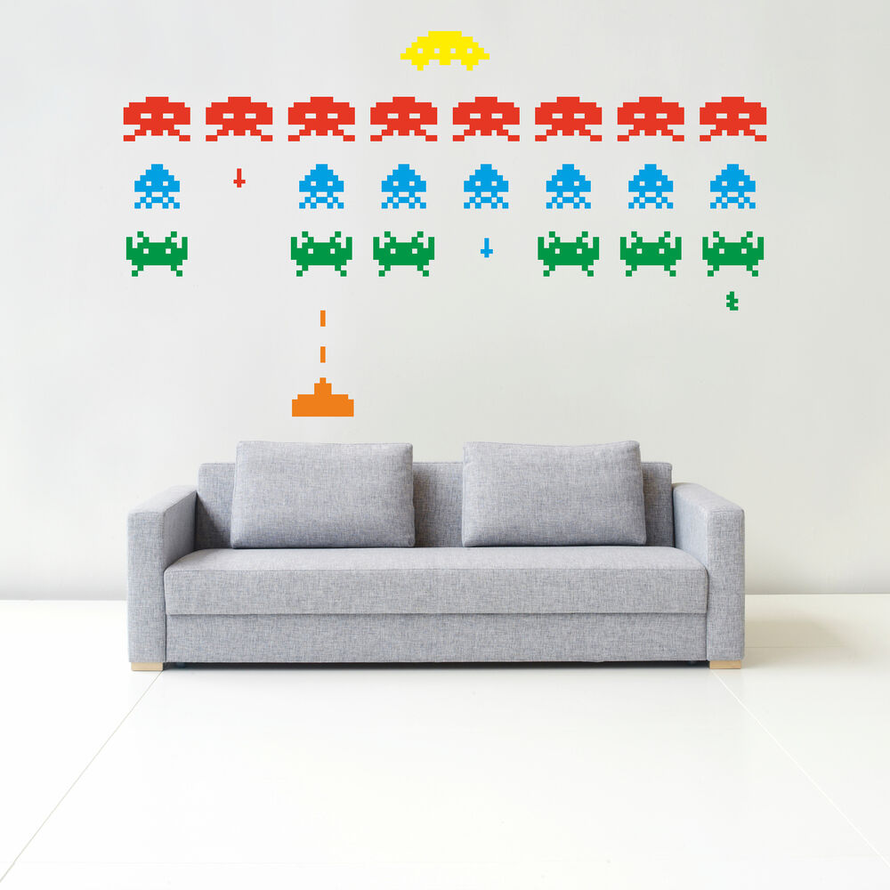 Space invaders retro wall sticker art bedroom gaming video kids arcade g7 ebay - Space invader wall stickers ...