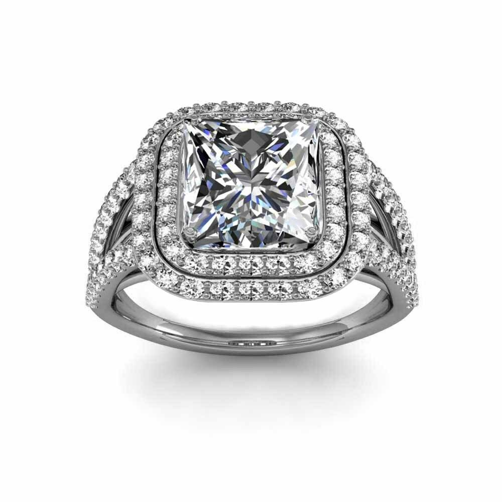 Princess Cut Engagement Rings Double Halo Princess Cut Engagement Rings