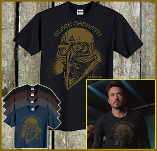 Black sabbath iron man t shirt tony stark robert downey jr for Iron man shirt for men