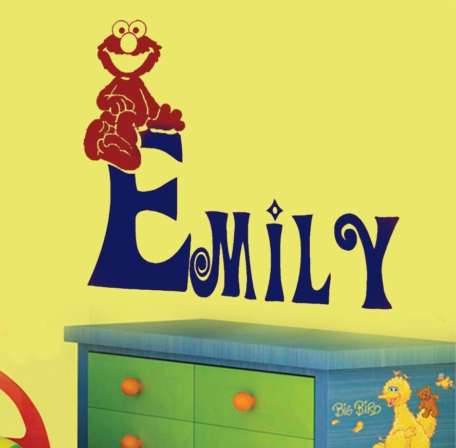 Personalized elmo sesame street vinyl wall decal nursery for Elmo wall mural