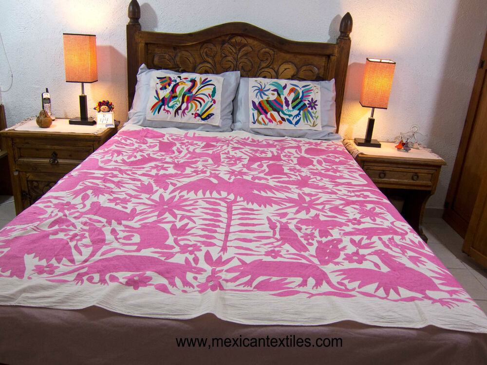 Mexican textile otomi fabric bedspread hand embroidered Mexican embroidered bedding