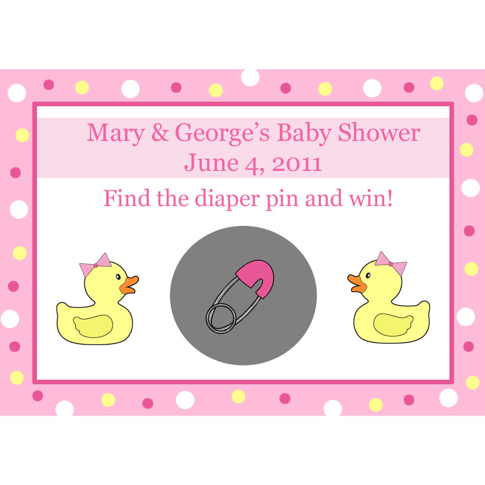 24 Personalized Baby Shower Scratch Off Game Cards