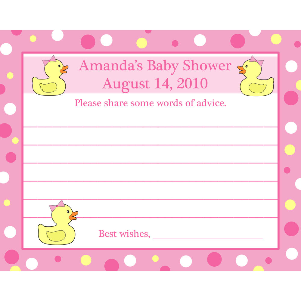 24 Personalized Baby Shower Advice Cards - PINK RUBBER ...