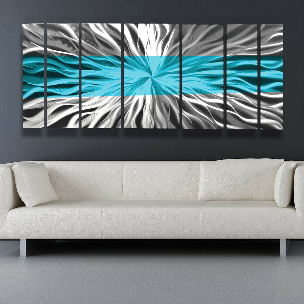 Metal wall art blue modern abstract sculpture painting for Modern artwork for home