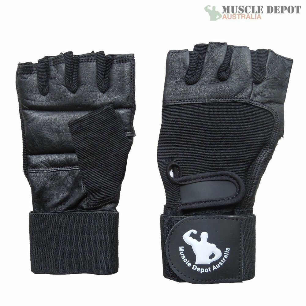 New Gym Muscle Bodybuilding Black Leather Fitness Lifting