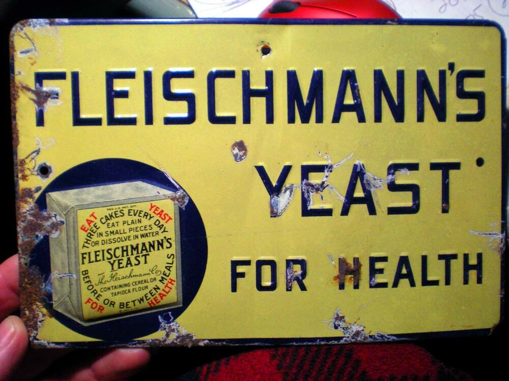 Original 1927 fleischmanns yeast for health metal sign for Raised metal letters
