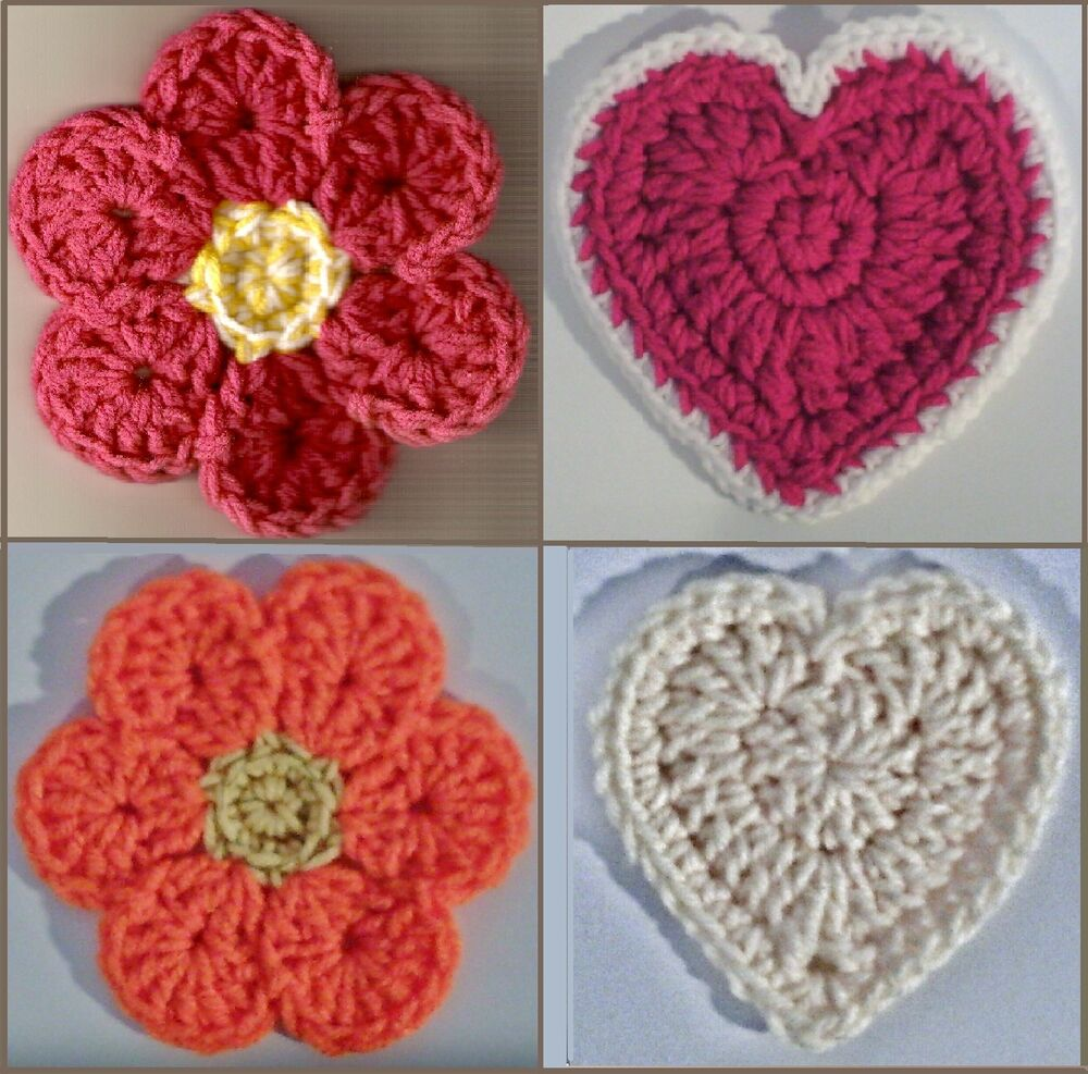 Flower & Heart Coaster & Hot-Pad Crochet Patterns eBay