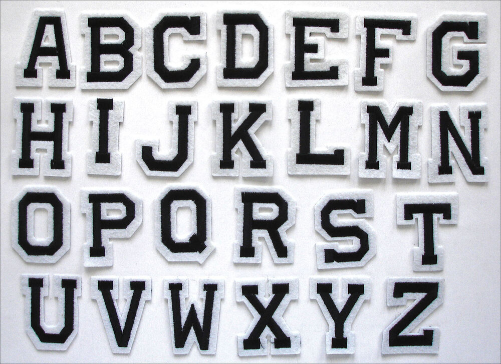 Embroidered Iron on Adhesive Stick Patch Alphabet Letters Your Choice ...
