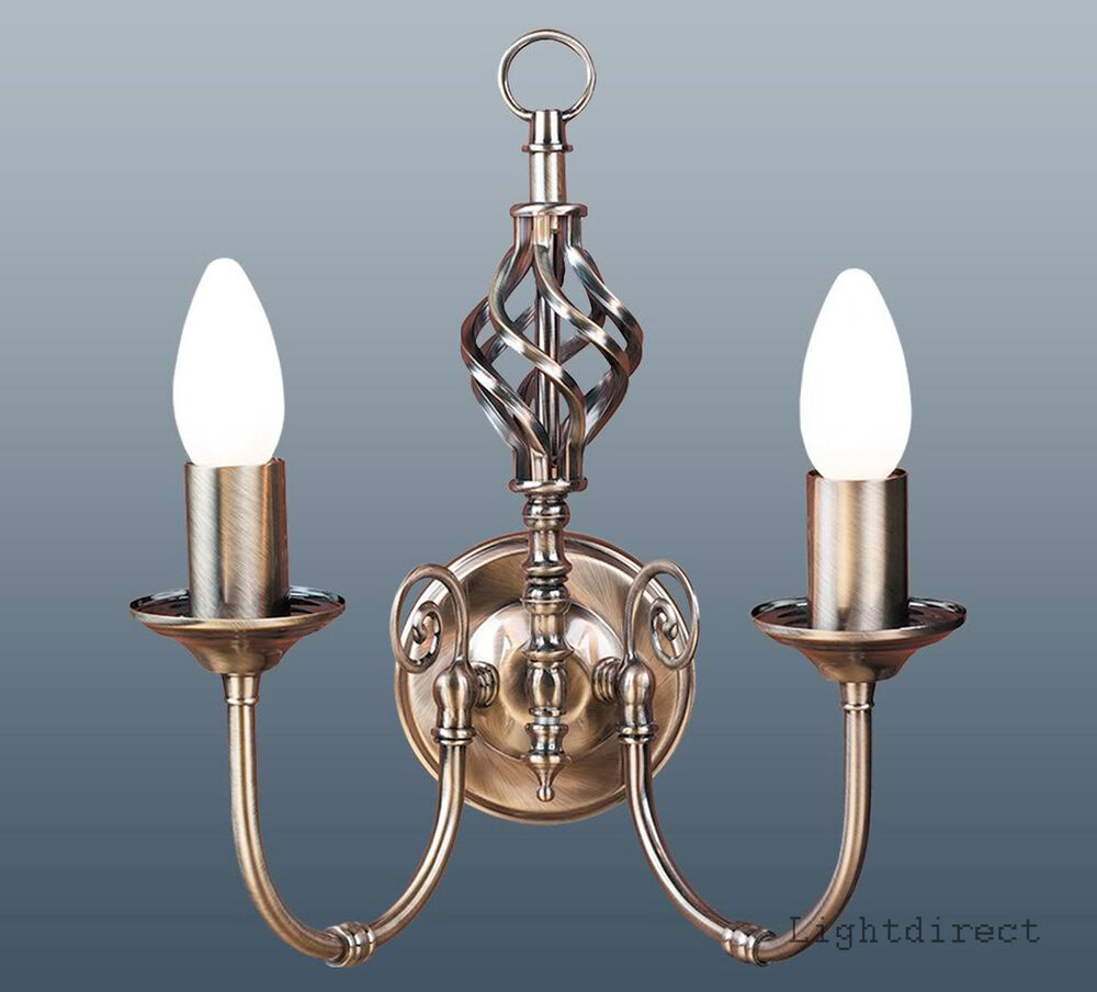 Yasmin Wall Light 2 Arm : CLASSIC BARLEY TWIST DOUBLE TWIN 2 ARM WALL LIGHT ANTIQUE BRASS EFFECT eBay