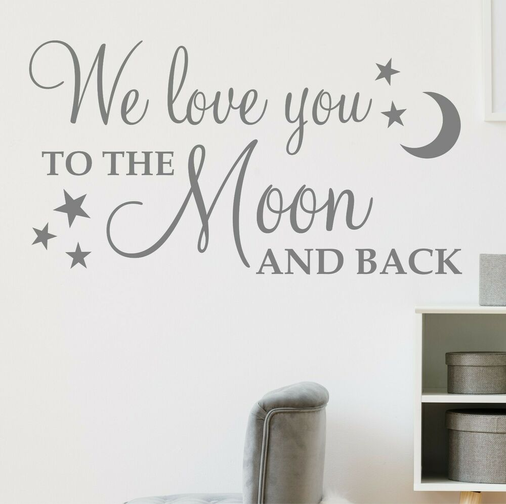we love you to the moon and back wall sticker decal. Black Bedroom Furniture Sets. Home Design Ideas
