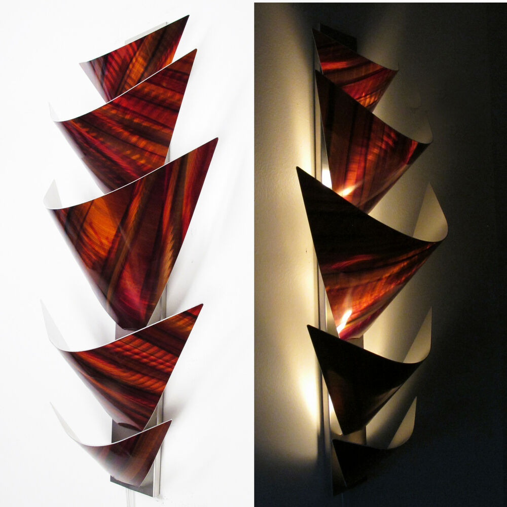 Modern Wall Lamp Design : Modern Abstract Metal Wall Art Torchiere Lamp Painting Sculpture Decor Orange eBay
