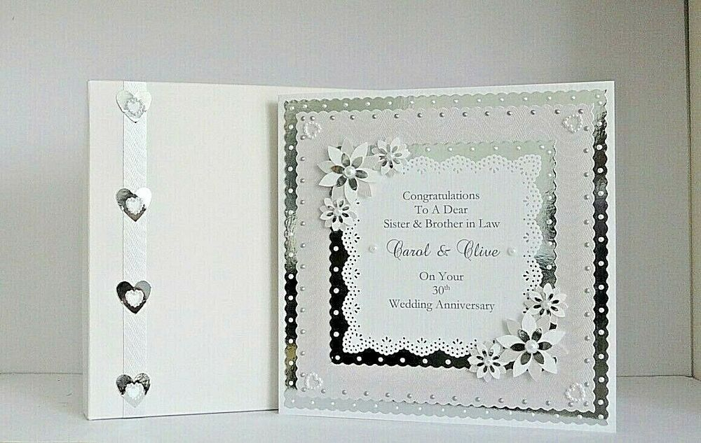 Gifts For Husband 25th Wedding Anniversary: Personalised Pearl 30th Wedding Anniversary Card With Or