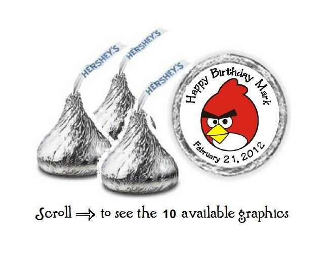 108 personalized angry birds birthday hershey kiss candy labels
