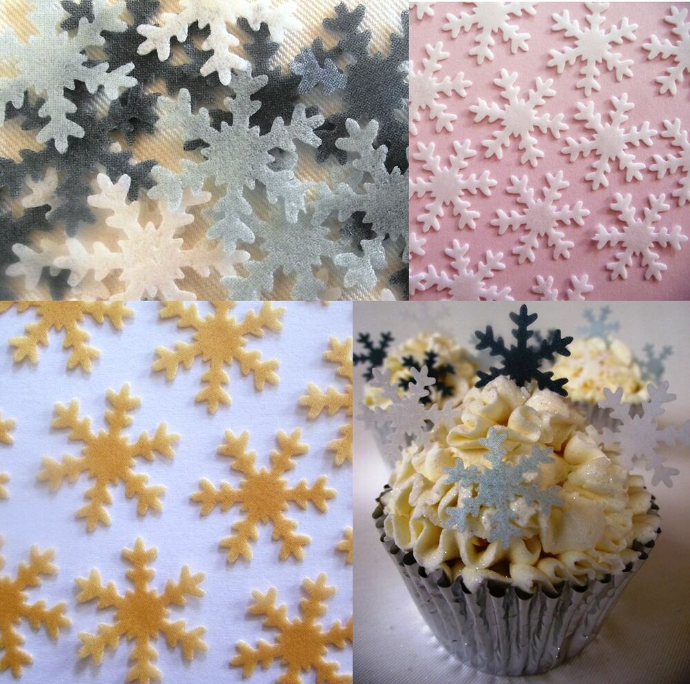 Christmas Cake Decorations - Cupcake Snowflakes - Edible ...