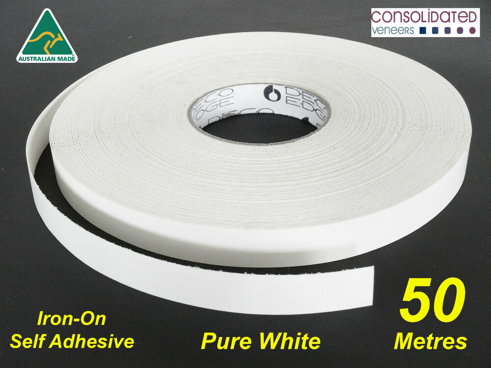 White Melamine Edge Tape 21mm X 50m Pre Glued Iron On
