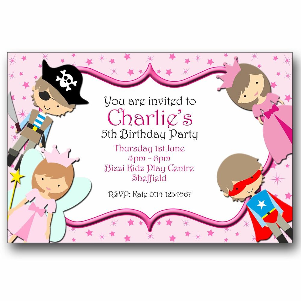 Details About 10 Personalised Birthday Party Invitations Fairy Princess Pirate Superhero A179