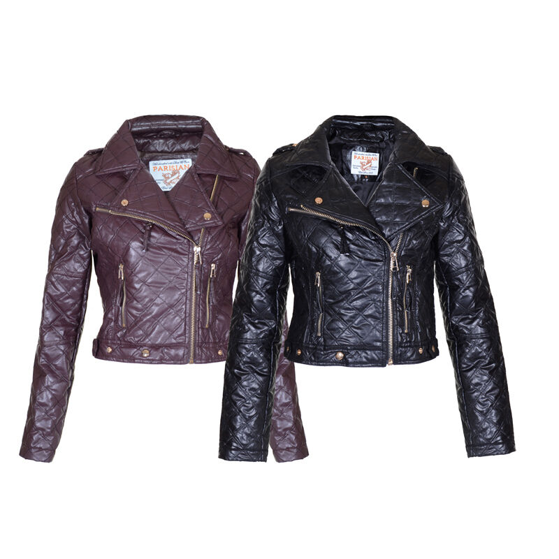 New Womens Quilted Faux Leather Pu Black Burgundy Biker Cropped Jacket Size 8 14 Ebay