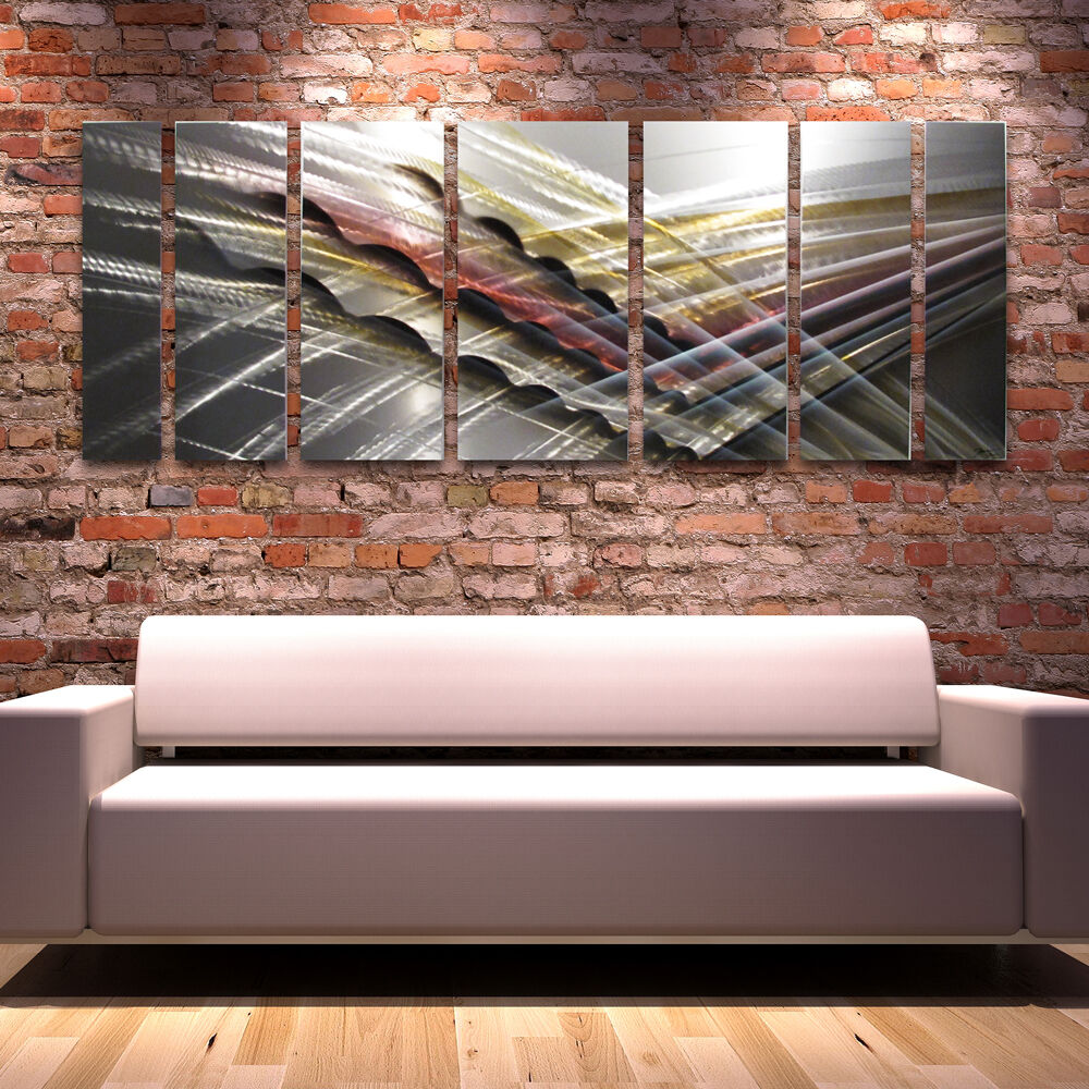 Large Silver Metal Wall Art Painting Modern Abstract Home ...