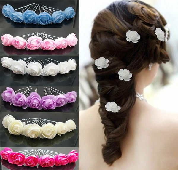Flower Hair Pins For Wedding: 6X Small Rose Flower Hair Pins Wedding Bridal Flowers