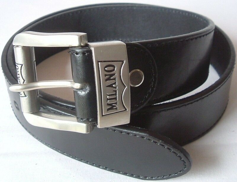 mens black bonded leather belt with silver buckle