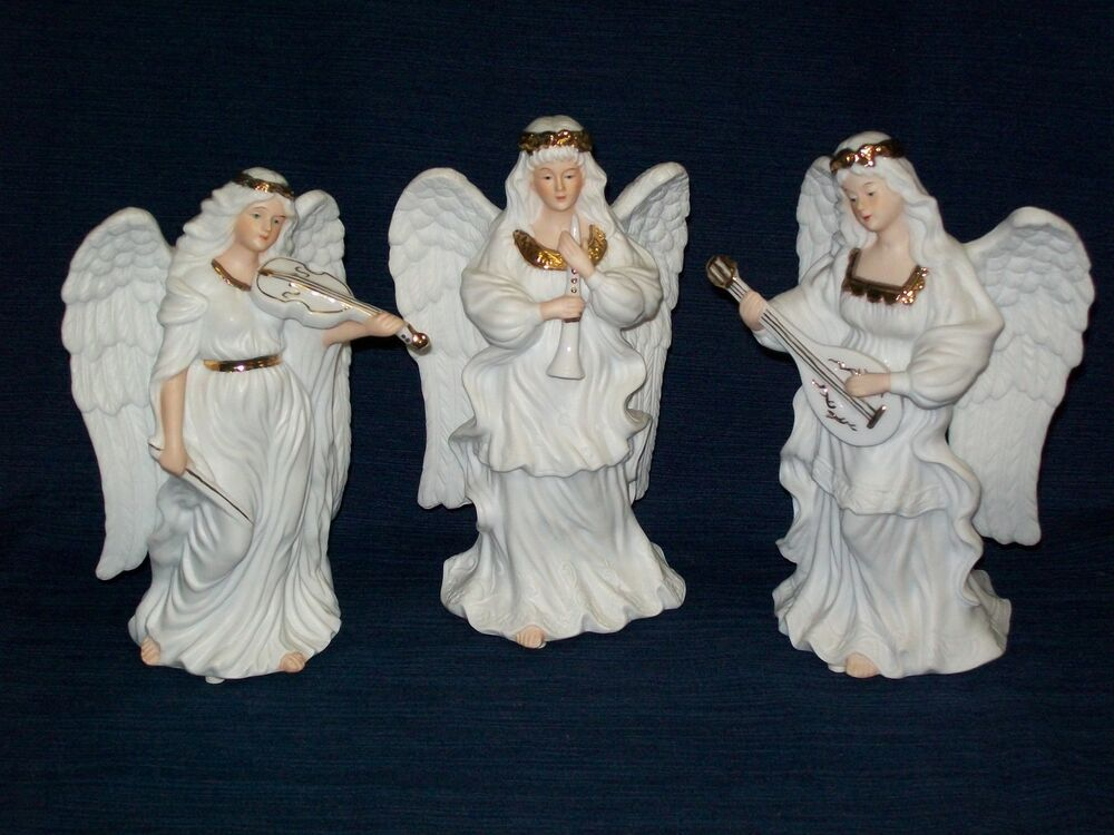 Beautiful Set Of 3 WHITE PORCELAIN ANGELS W INSTRUMENTS