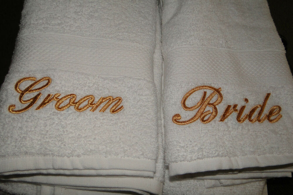 Wedding Gift Towels: Bride And Groom Embroidered Towel Wedding Gift Set