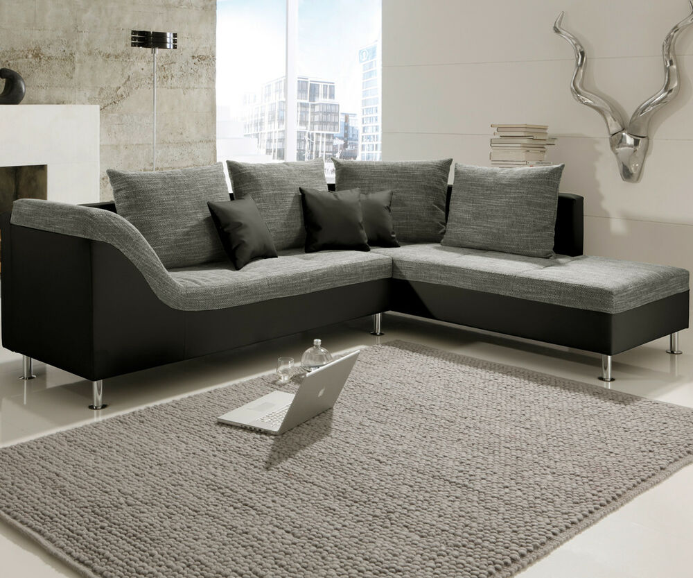 ecksofa philip wohnlandschaft couch sofa mit ottomane rechts schwarz stoff grau ebay. Black Bedroom Furniture Sets. Home Design Ideas
