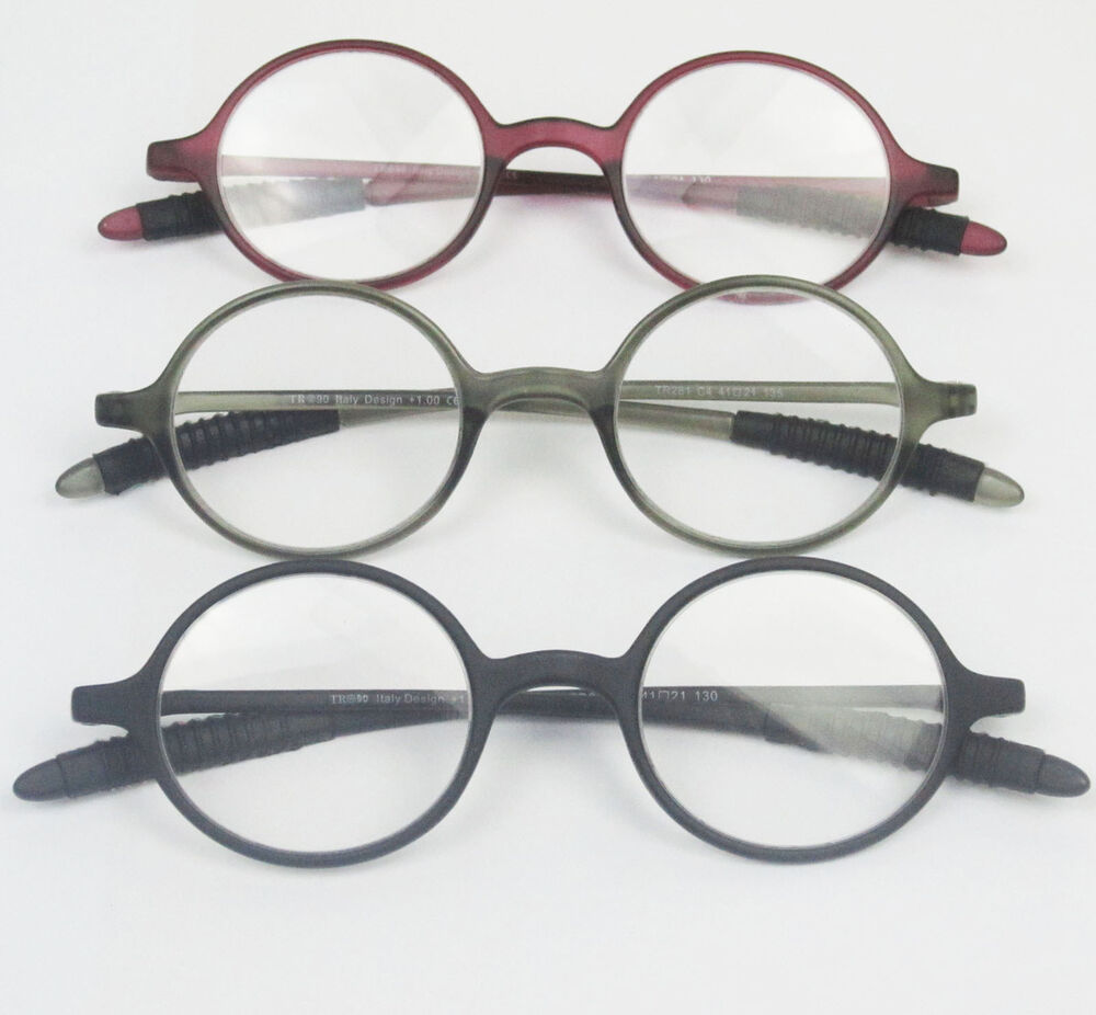 Gray Frame Reading Glasses : TR-90 Round Flexible Grey Eyeglass Frame Reading glasses ...