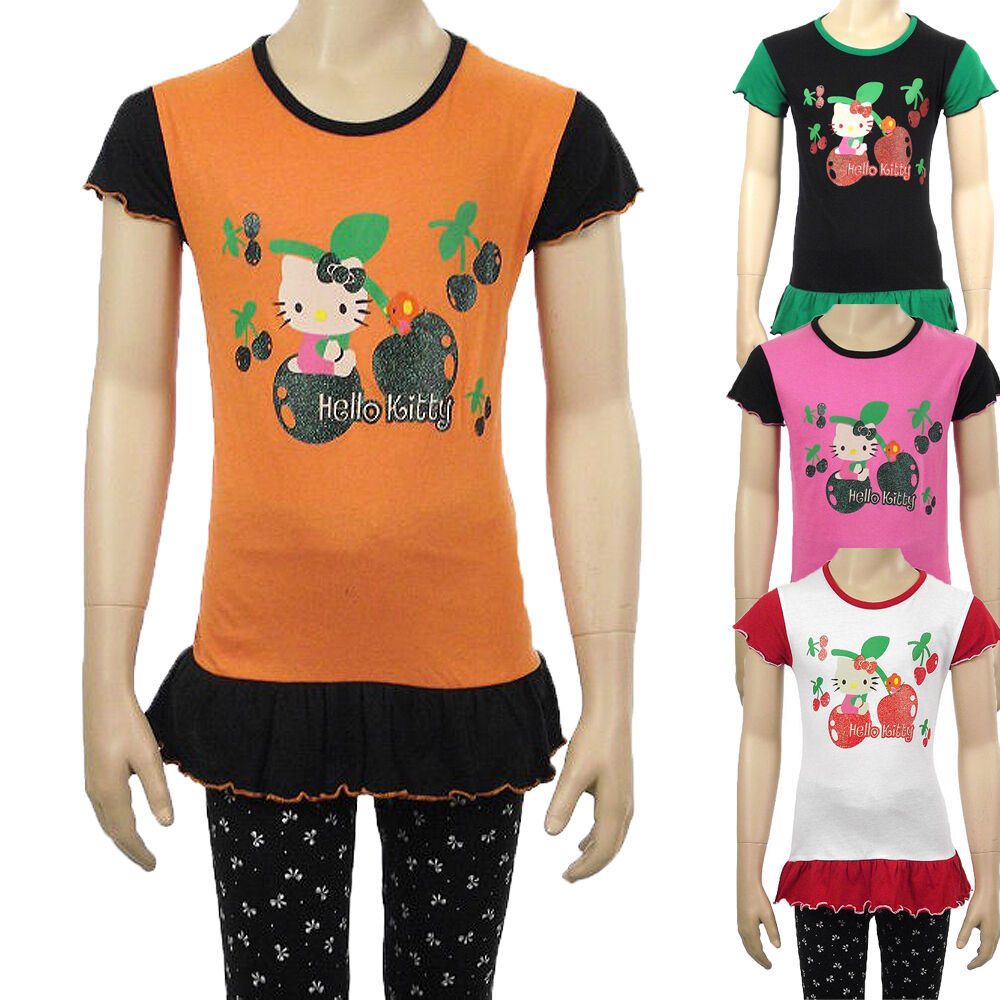 Hello kitty girls glitter t shirt top kids cotton frilly t for Best shirts for girls