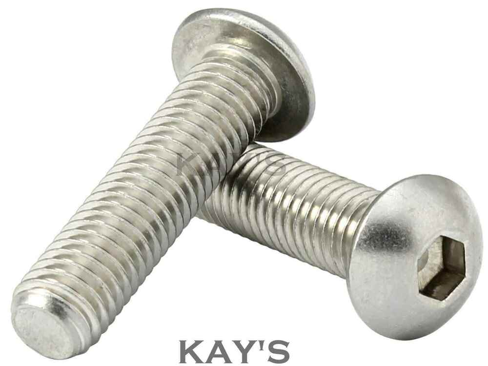 M mmØ a stainless steel button head bolts allen hex
