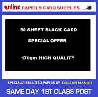 50 SHEET A3 CARD BLACK 170gm HIGH QUALITY ART CRAFT OFFICE COLLAGE USE