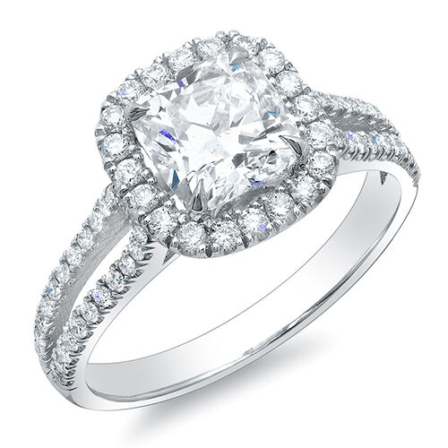1 47 Ct Halo Cushion Cut Split Shank Diamond Engagement