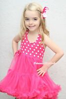 Hot Pink White Polka Dots Party Petti Dress Full Tutu For Girl Pettiskirt 1-8Y
