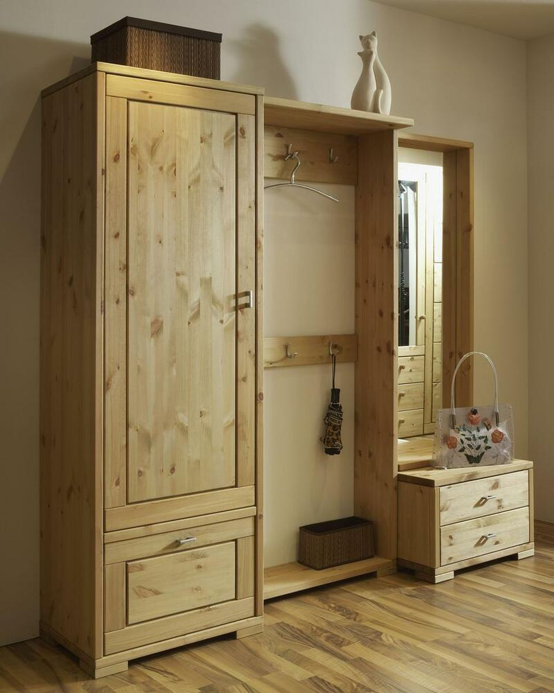 garderoben set kiefer dielen flur garderobe m bel massiv holz gelaugt. Black Bedroom Furniture Sets. Home Design Ideas