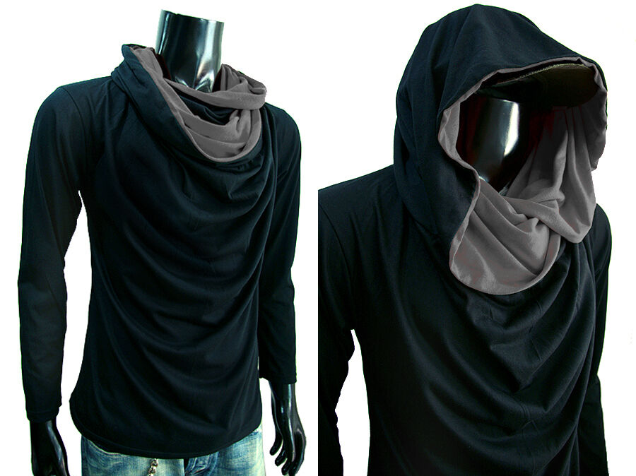 New Men Turtle Cowl Neck Hoodie Long Sleeve Shirt T Shirt