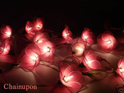 20 PINK FLOWERS STRING PARTY,PATIO,FLORAL,DECOR,CHRISTMAS,WEDDING,BEDROOM LIGHTS eBay