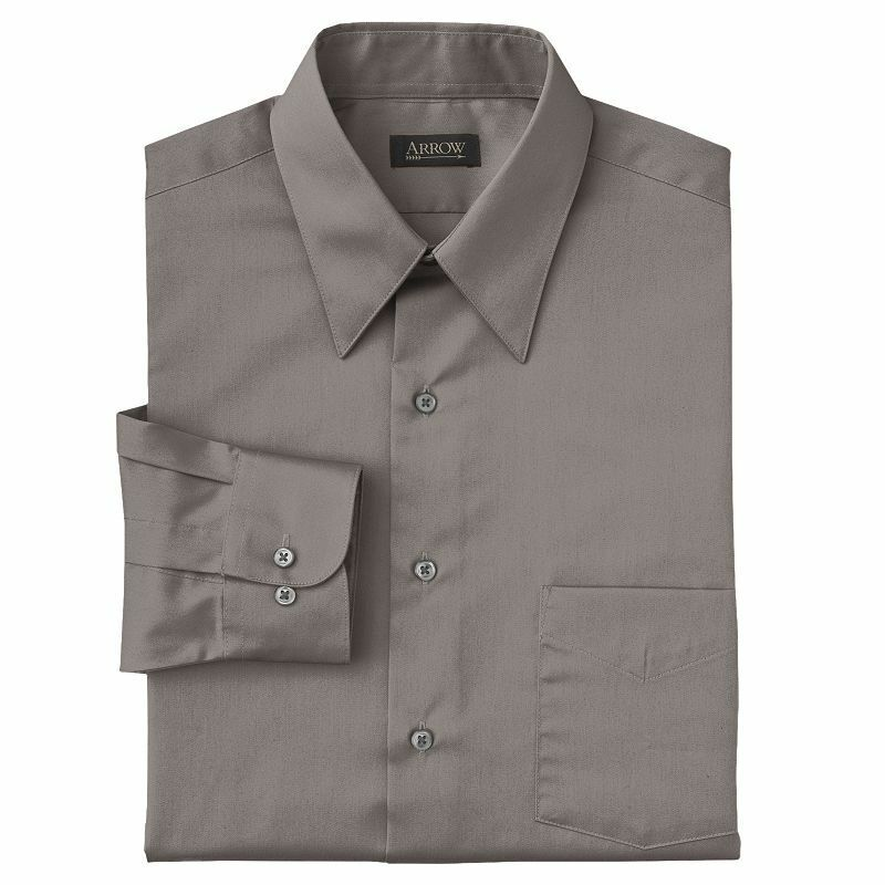 New arrow men 39 s sateen point collar dress shirt gray for Tall mens dress shirts