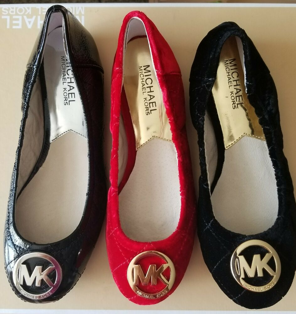 michael kors fulton classic quilted mk logo sexy ballerina flats ebay. Black Bedroom Furniture Sets. Home Design Ideas