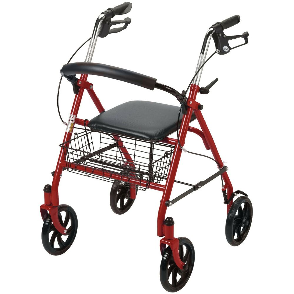 New Durable Drive Red Rollator Rolling Walker Folding
