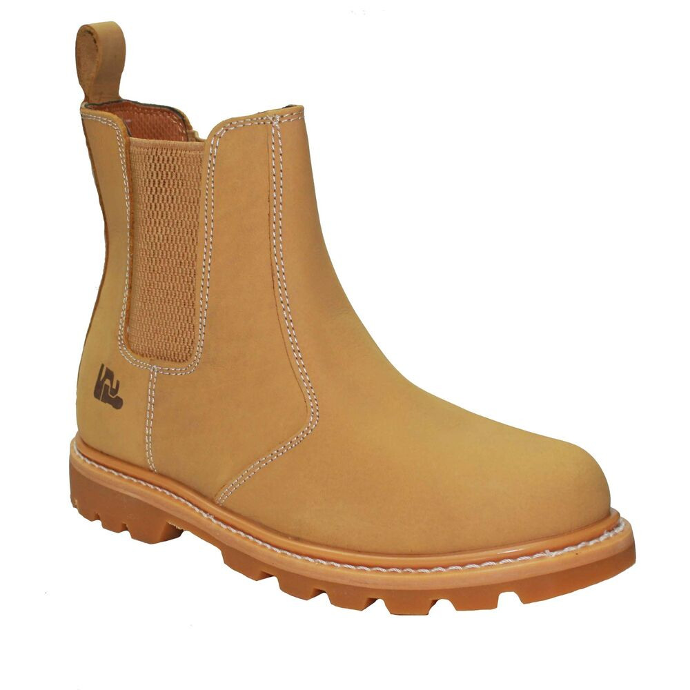 mens safety work boots shoes steel toe cap slip on chelsea