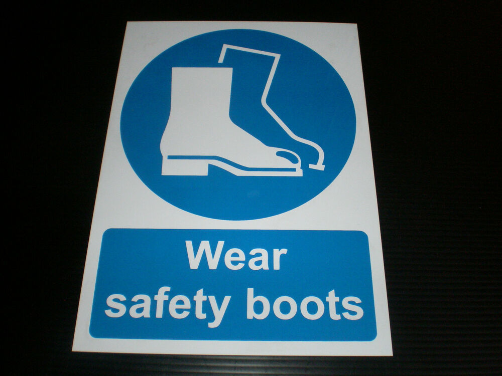wear safety boots plastic sign or sticker choice of sizes