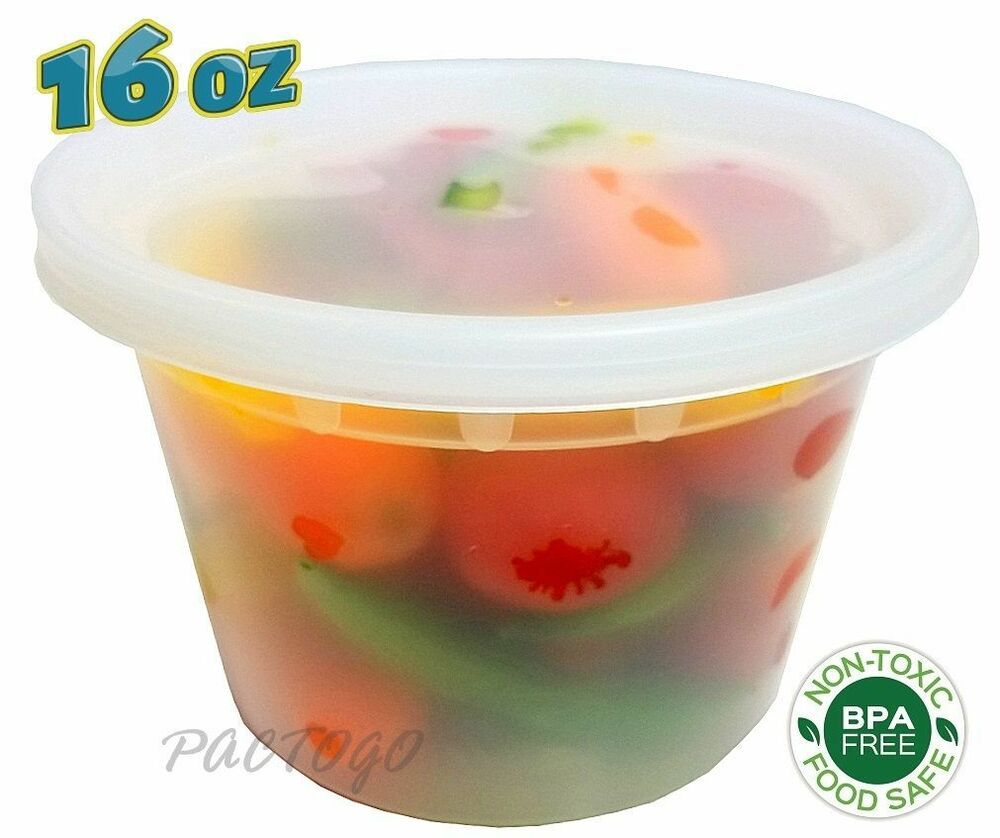 16 oz. (Pint Size) Freezer Food Storage Deli Containers Tubs 96 Sets - BPA FREE! | eBay
