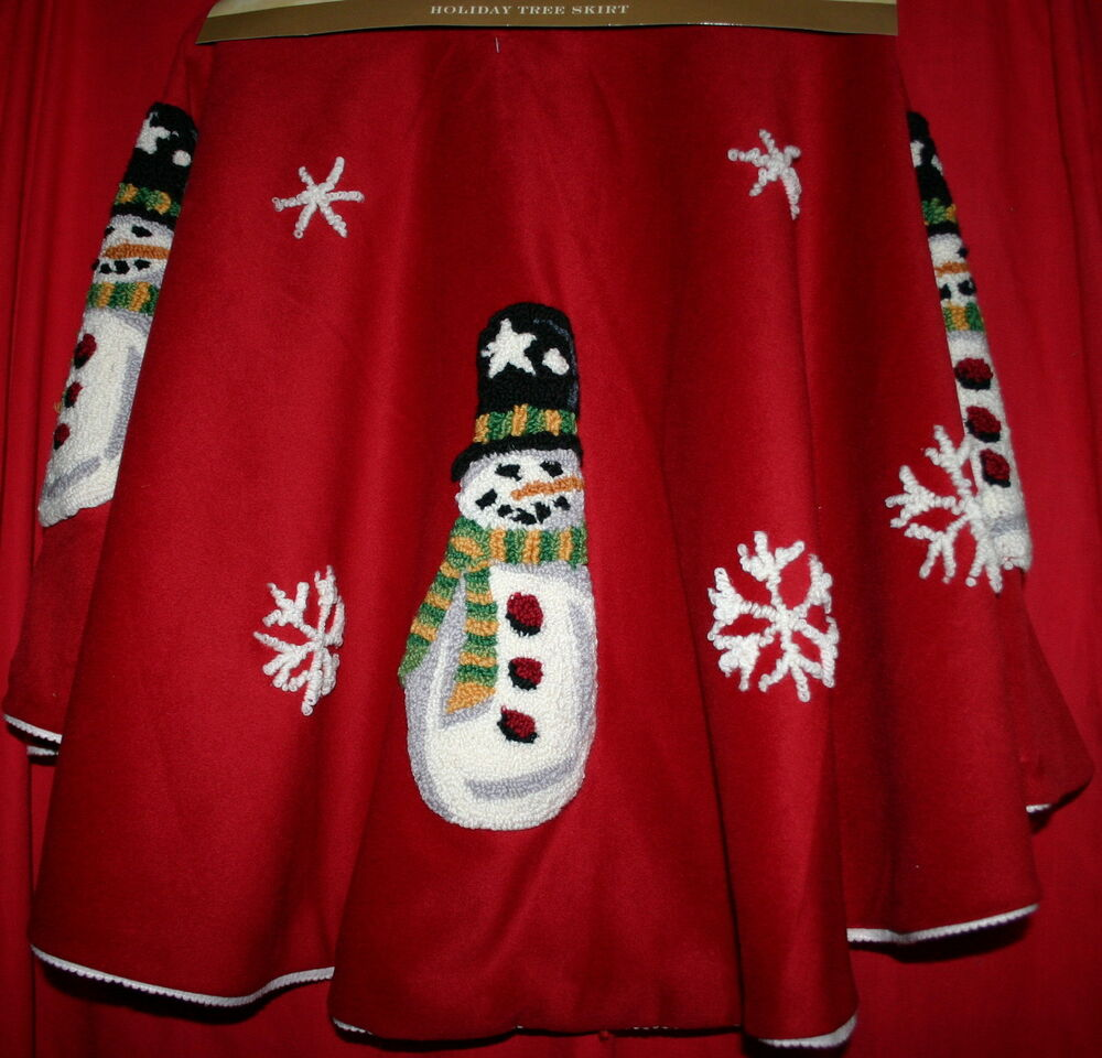 Snowman Christmas Tree Skirt 50 Quot Fully Lined Red Tree