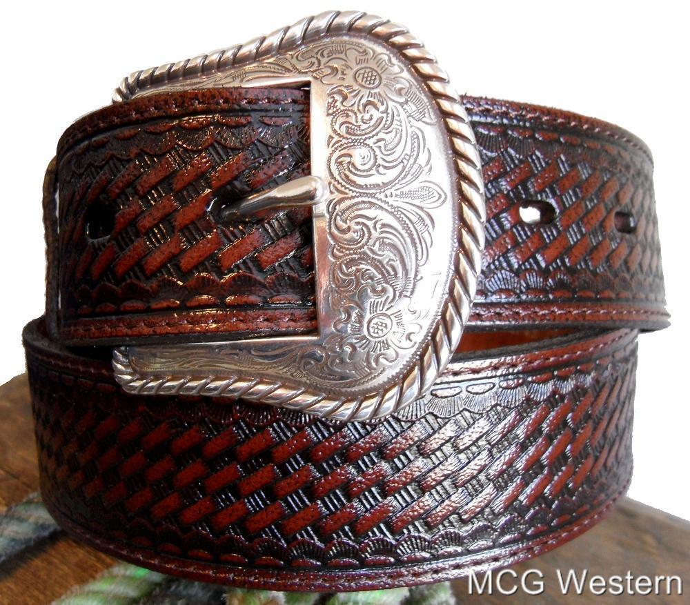 Nocona Western Mens Belt Leather Basketweave Brown