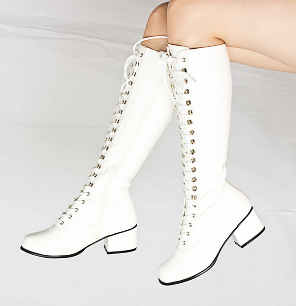 white patent lace up knee high combat boots retro gogo