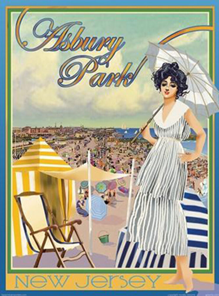 asbury park nj vintage art deco style travel poster by. Black Bedroom Furniture Sets. Home Design Ideas