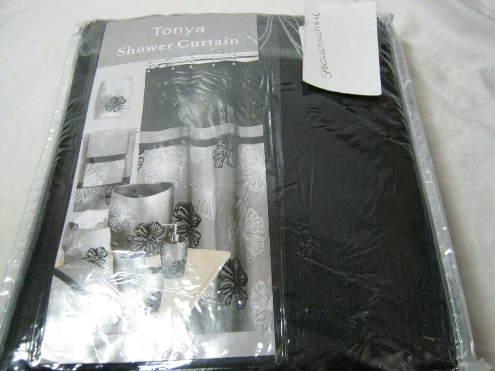New Popular Bath Tonya Black Grey Gray Applique Floral Fabric Shower Curtain