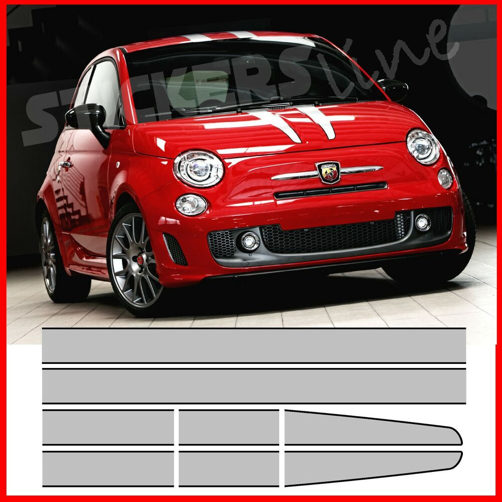 kit fasce adesive tributo ferrari 695 adesivi fiat 500 strisce 695 abarth bande ebay. Black Bedroom Furniture Sets. Home Design Ideas